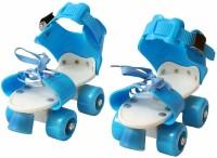 Kavid Adjustable Inline Skating Shoes for Kids with Front Brake (Age Group 5-10 Years) Quad Roller Skates - Size 7 UK(Blue)