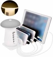 ROQ Mushroom LED Desk Lamp with Fast Charging Station Organizer 3.0 5 Ports USB Hub(White)