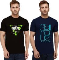 London Hills Typography Men Round Neck Dark Blue, Black T-Shirt(Pack of 2)