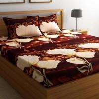 Gangoli 3d 140 Thread Count Polycotton Multicolor Double Bedsheet