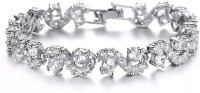 Shining Diva Alloy Cubic Zirconia Silver Tennis Bracelet