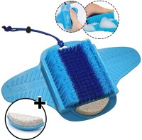 Kruvad Foot Scrubber/Pedicure with Pumice Stone for Foot Exfoliator & Foot File Rasp Callus, Dead Skin, Corn Remover Brush Cleaner Foot Spa Massager at home daily without Bending in Shower or Bath(Blue)