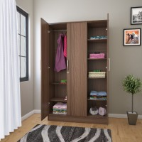 Flipkart Perfect Homes Julian Engineered Wood 3 Door Wardrobe(Finish Color - Latin Walnut)
