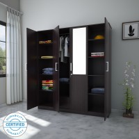 Flipkart Perfect Homes Julian Engineered Wood 4 Door Wardrobe(Finish Color - Espresso, Mirror Included)