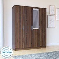 Flipkart Perfect Homes Julian Engineered Wood 4 Door Wardrobe(Finish Color - Latin Walnut, Mirror Included)