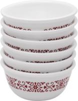 CORELLE Katori Red Trellies 6Pcs Glass Ramekin Bowl(White, Pack of 6)