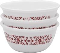 CORELLE Katori Red Trellies 3pcs-177ml each Glass Ramekin Bowl(Multicolor, Pack of 3)