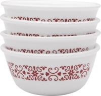 CORELLE Katori Red Trellies 4pcs-177ml each Glass Ramekin Bowl(Multicolor, Pack of 4)