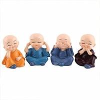 jashenterprise Little Baby Monk Buddha 4pcs Monk Doll Ornament Set Kung Fu Cartoon Little Monk Doll Decoration Auto Dashboard Car Ornament Toy Home Gift Decorative Showpiece Decorative Showpiece - 5.5 cm Decorative Showpiece  -  5.5 cm(Polyresin, Multicolor)