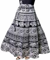 Frionkandy Printed Women Wrap Around Black Skirt