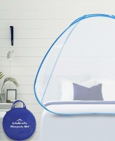 Lifekrafts Polyester Adults Pop-Up Single Bed Mosquito Net-White Color Net with Blue Color Border, Foldable Net. Mosquito Net(WHITE & BLUE)