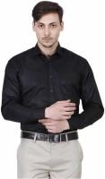 JMDE Men Solid Formal Black Shirt