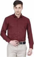 JMDE Men Solid Formal Maroon Shirt