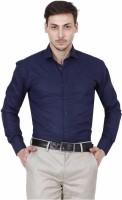 JMDE Men Solid Formal Dark Blue Shirt