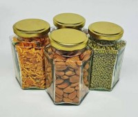NOGAIYA KOMAL8  - 300 ml Glass Grocery Container(Pack of 4, White)