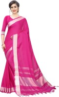 RadadiyaTRD Solid Bollywood Cotton Jute Blend, Cotton Linen Blend Saree(Pink)