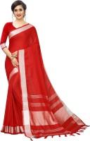 RadadiyaTRD Solid Bollywood Cotton Jute Blend, Cotton Linen Blend Saree(Red)