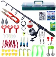 Proberos 56 Pcs Portable Fishing Rod and Reel Combos Kit Carbon Fiber Telescopic Fishing Rod Fishing Lure Accessories Set Fishing Tackle Box with Handle for Freshwater Saltwater