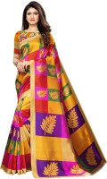 Saara Printed, Geometric Print Kanjivaram Poly Silk, Cotton Silk Saree(Multicolor, Purple, Yellow)