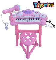 Toyshine Kids Musical Piano Table with Lights, Microphone Keyboard Kids Toy Piano with Bench and Microphone(Pink)(Multicolor)