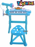 Toyshine Kids Musical Piano Table with Lights, Microphone Keyboard Kids Toy Piano with Bench and Microphone(Blue)(Multicolor)