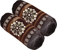 Shopway Collection Floral Bolsters Cover(Pack of 2, 40 cm*75 cm, Brown)