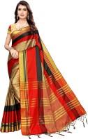 NightBlue Checkered Fashion Cotton Silk Saree(Beige)