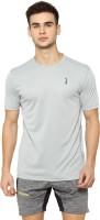 Campus Sutra Solid Men Round Neck Grey T-Shirt