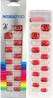 Rozia 24Pcs and 12 Size of Fake Nails, Full Cover Square Short UV Top Coat Artificial Acrylic Nails, False Nails with Glue Multicolor(Pack of 24)