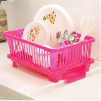 Lariox 3 in 1 Large Durable Plastic Kitchen Sink Dish Rack Drainer Drying Rack Washing Basket with Tray for Kitchen, Dish Rack Organizers, Utensils Tools Cutlery Dish Drainer Kitchen Rack(Plastic)