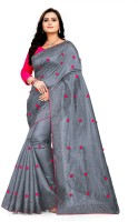 MM VENTURE Embroidered Bollywood Silk Blend Saree(Grey)