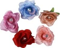 Delush Satin Flower With Moti and Rhinestone 36 Pc