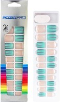 Rozia 24Pcs and 12 Size of Fake Nails, Full Cover Square Short UV Top Coat Artificial Acrylic Nails Multicolor(Pack of 24)