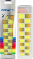 Rozia Artificial Fake Nail Art Tip & Glue Luminous fake nails Artificial False Nails Perfect Length Full Cover Nail Art Decoration Yellow(Pack of 24)