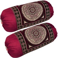 Shopway Collection Floral Bolsters Cover(Pack of 2, 40 cm*75 cm, Maroon)