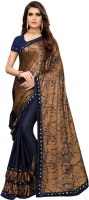 Vardan Ethnic Brown And Blue Lycra Foil Printed Party Wear Saree