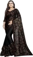 3SIX5 Printed, Embellished Bollywood Lycra Blend Saree(Black)