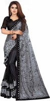 Vardan Ethnic Grey And Black Lycra Foil Printed Party Wear Saree