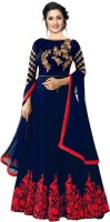 R&H COMAPANY Satin Embroidered Gown/Anarkali Kurta & Bottom Material(Semi Stitched)