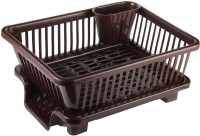 Mantavya 3 in 1 Large Sink Set Dish Rack Drainer with Tray for Kitchen,Dish Rack Organizers, Dark Brown Plastic Dish Drainer Kitchen Rack(Plastic)
