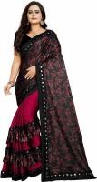 upperkutt Floral Print Fashion Silk Blend Saree(Maroon)