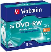 Verbatim DVD Rewritable 4.7GB DVD-RW 2x speed 5 Pack Jewel Case DVD Rewritable 4.7 GB
