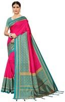 Peria Apparel Banarasi Art Silk Tiger Style Printed Saree with Blouse Piece Navy Color Free Size SHRADDHA
