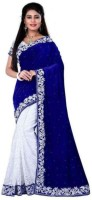 Peria Apparel Brasho Silk Velvet Style Printed Saree with Blouse Piece Navy Color Free Size Chandni Blue