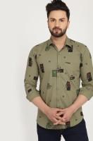 VERO LIE Men Printed Casual Green Shirt