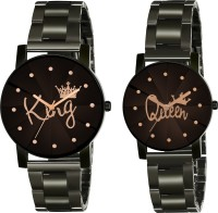 Guoyu Black Dial Analogue Premium Quality Top Trending Latest Attractive Designer Collection Wrist Watch for Men & Women- Crystal-King Queen-Black-Couple Analog Watch  - For Men