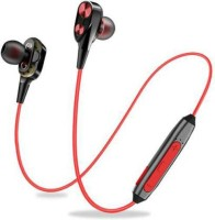 techobucks 4D Deep Bass Wireless Earphone Headphone Bluetooth Headset with Mic Bluetooth Headset with Mic(RED BLACK, In the Ear)