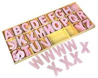 R H lifestyle Pink Floral Design Wooden Letters - 104-Piece Crafted Alphabet Letters with Storage Tray Set - for Home Decor, Kids Learning Toy - Natural Color 2 inch ( 5 cm )(Pink)