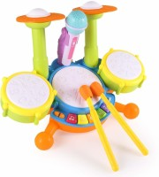 Trade Zone Electronic Drum Kit Set with Microphone Musical Toys Puzzle Early Educational Toy for Baby Kids(Multicolor)