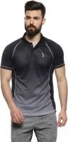 Campus Sutra Ombre Men Polo Neck Black T-Shirt